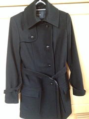Ladies 'Mexx' black wool/cashmere 3/4 length coat size 12
